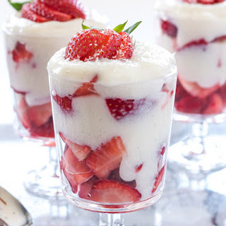 Strawberry and White Chocolate Pudding Parfaits.
