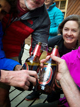 Photo: Zephyr trekkers celebrate the day's hike at Refugio Los Cuernos