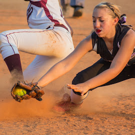 The tag at 2nd by Donna Legrand - Sports & Fitness Baseball