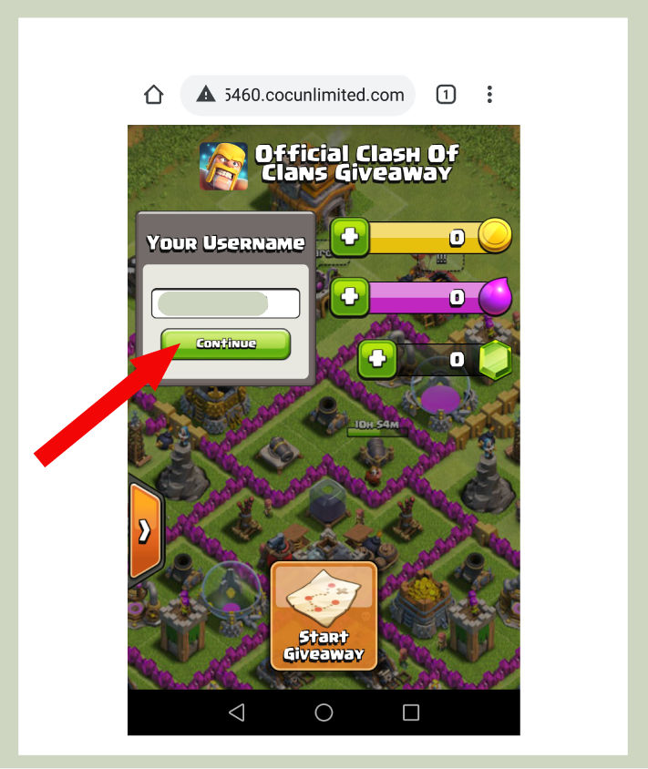 step 2 for getting clash of clans free gems from private server