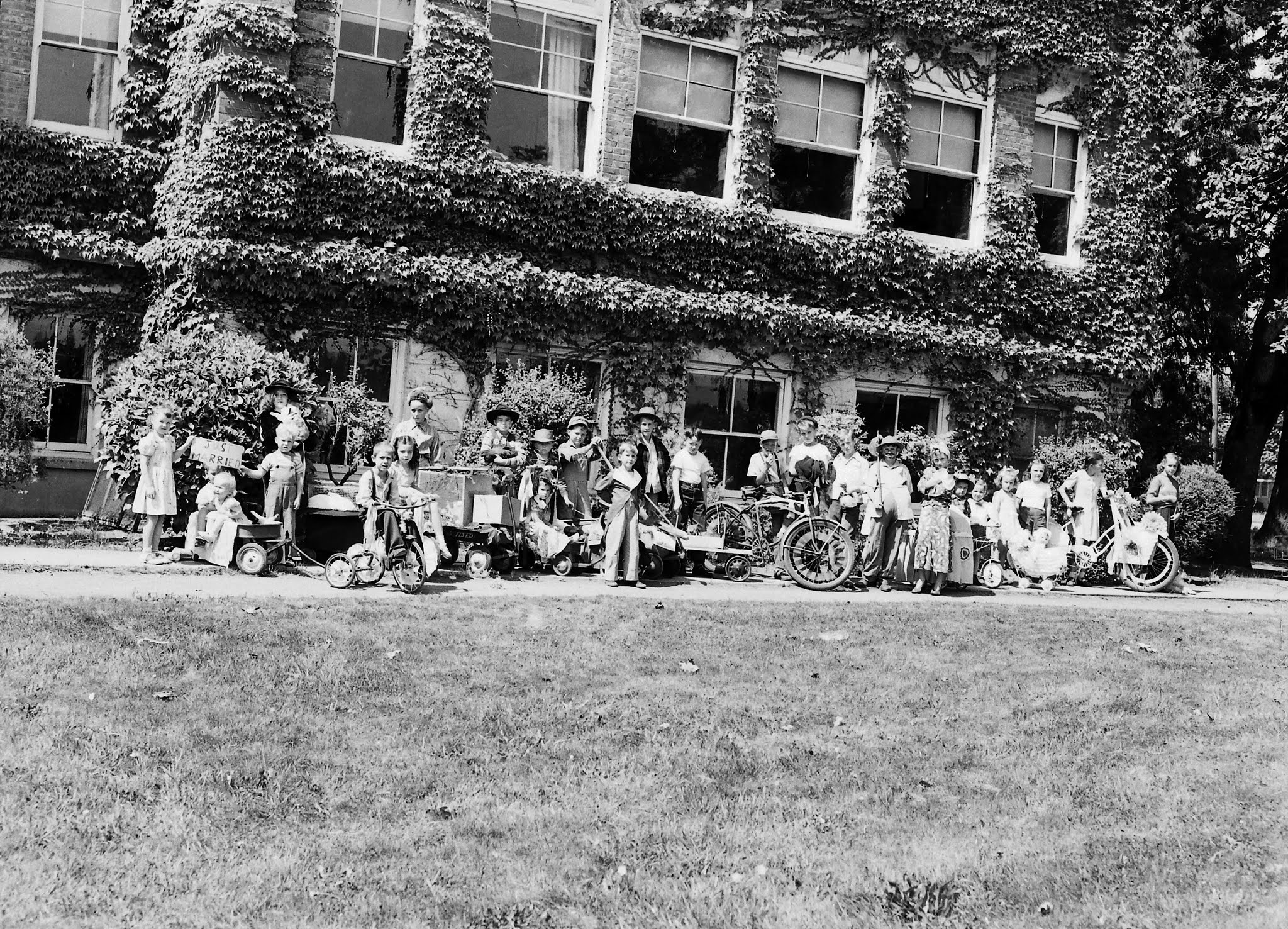 Photo: Children lining up at the old High School building for the Strawberry Fair Children's parade  CA 1946