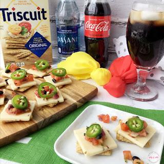 TRISCUIT Appetizer - Pepper Jack & Corn Salsa Topper.