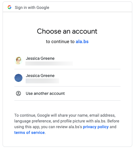 sign into authority labs with google account