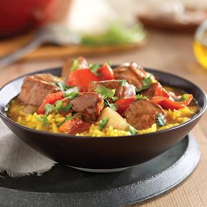 Spanish Pork and Fennel Stew with Saffron Rice