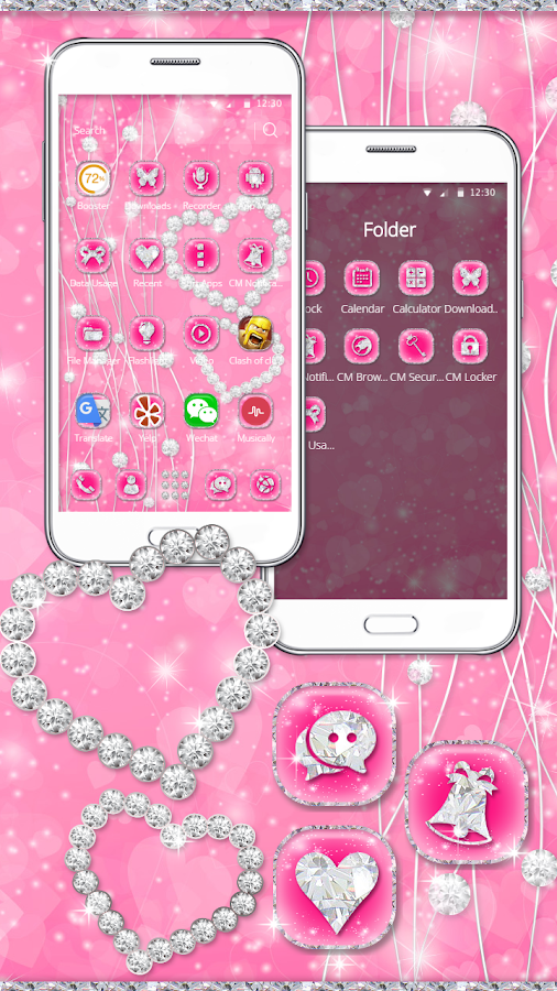 Love Pink Diamond Heart Theme- screenshot