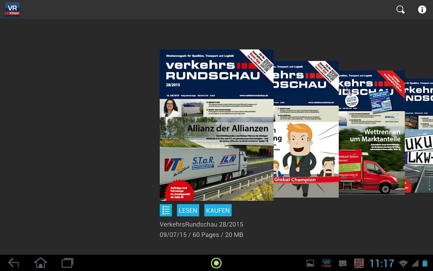 VerkehrsRundschau – Screenshot