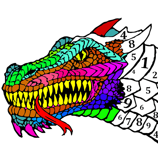 Dragons Color by Number - Animals Coloring Book Icon