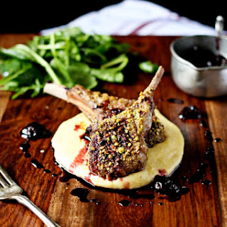 Pistachio Crusted Lamb Chops with Cherry Port Sauce.