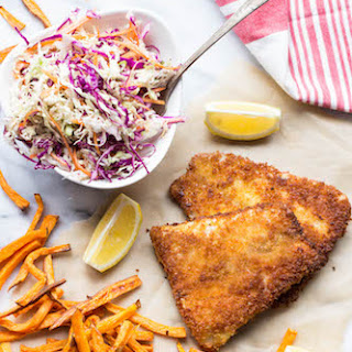 Panko Crusted Barramundi with Sweet Potato Oven Fries and Vinegar Slaw