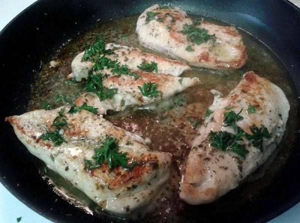 After chicken is browned turn the heat up a smidge and pour a 1/2...