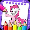 little unicorn coloring pony icon