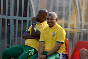 Clinton Larsen and Mandla Ncikazi during the Absa Premiership match between Highlands Park and Golden Arrows at Makhulong Stadium on September 16, 2018 in Johannesburg, South Africa.