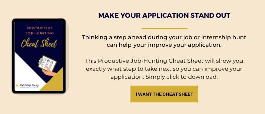 Internship application productive job hunting cheatsheet opt in image