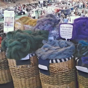 Three Bags Full by Norma Moore - Novices Only Objects & Still Life ( fiber, fair, wool )