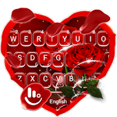 Romantic Red Rose Flower Keyboard Theme