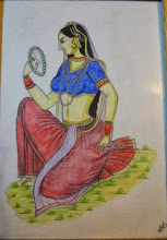 Photo: Indian woman drew in around 2002-2003 with colored pencils based on a miniature art brought from India. I was looking forward to living in India that time. 17th December updated -http://jp.asksiddhi.in/daily_detail.php?id=395
