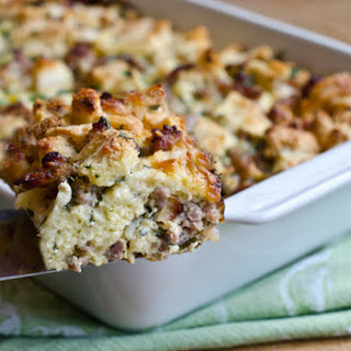 Savory Sausage and Cheddar Bread Pudding.