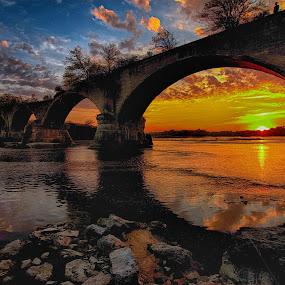 by Dragos Tranca - Landscapes Sunsets & Sunrises ( waterscape, rouche de boeuf interurban bridge in waterville, sunset, bridge, dusk, oh )