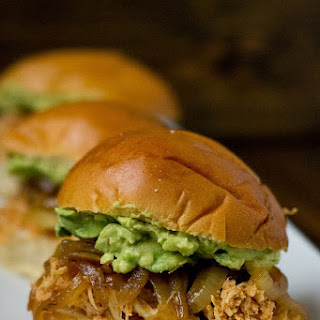 Pulled Chicken Avocado Sliders.