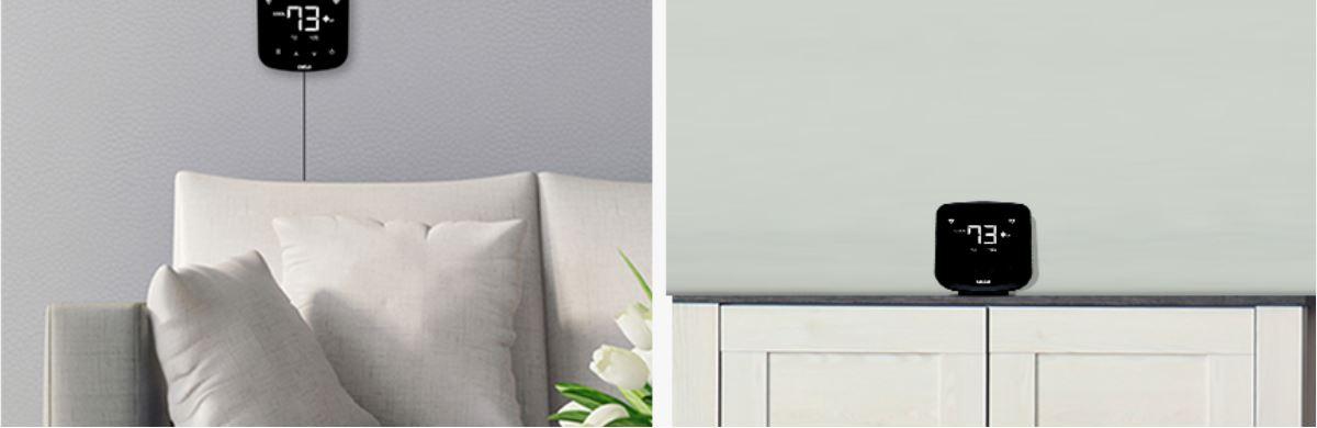 Le thermostat intelligent Cielo Breez Plus s'installe au mur ou sur une table