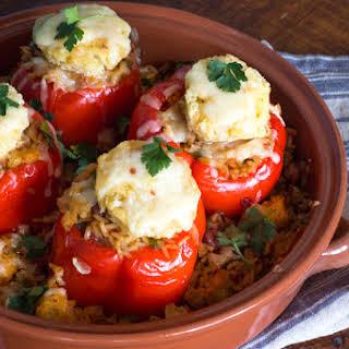 Vegetarian Jambalaya Stuffed Red Peppers Casserole | #SundaySupper.