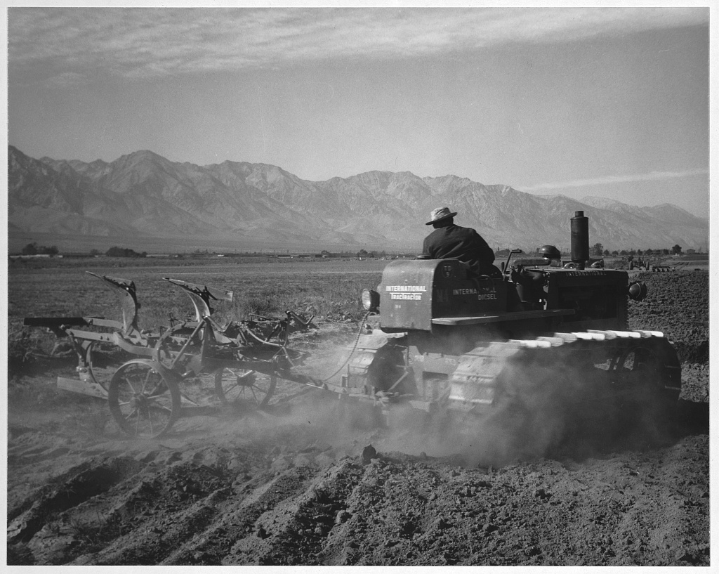 A man driving a tractor in a field at Manzanar. There are also mountains and barracks buildings visible in the distance.