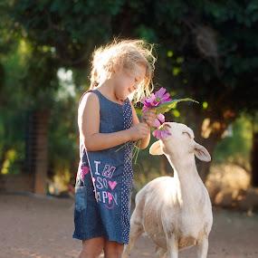 My lamb by Chrismari Van Der Westhuizen - Babies & Children Children Candids ( farm, animals, pets, sheep, kids, flowers, kids portrait )