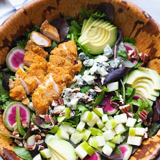 Harvest Salad with Crispy Cornmeal Chicken, Apples and Gorgonzola.