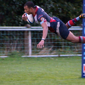 flying try by Marc Lawrence - Sports & Fitness Rugby ( player, northern ireland, local, rugby, try,  )