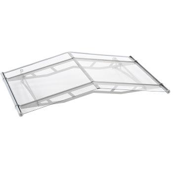Auvent marquise de porte à pignon, LT-Line 1500, 148 x 91 cm, verre acrylique transparent, fixations inox V2A