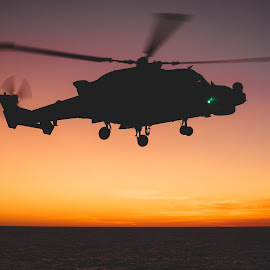 Sunset Silhouette  by Caeron Roberts - Transportation Helicopters ( mediterranean, helicopters, sunset, aviation, wildcat )