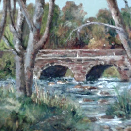 The Bridge 7 by RMC Rochester - Painting All Painting ( random, art, painting, nature, bridge, abstract, water, colors, architecture )