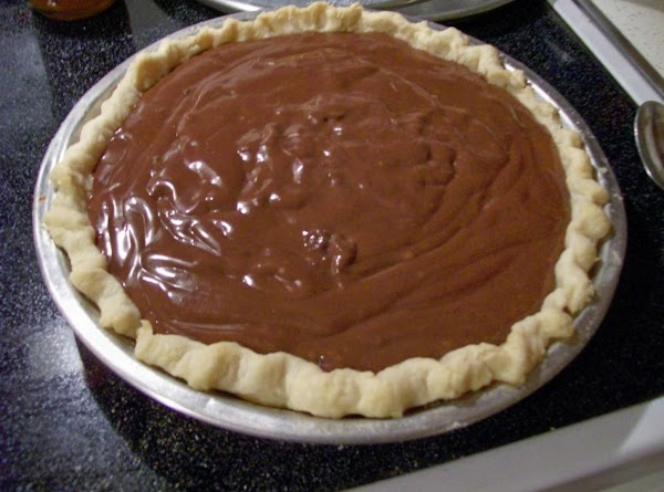 Chocolate pudding in a pie shell.