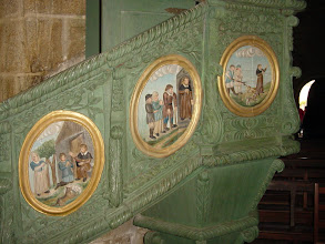 Photo: The colorful pulpit depicts scenes from St. Ronan's life.