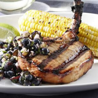 Teriyaki Pork Chops with Blueberry-Ginger Relish Recipe