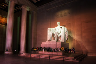 """Photo: Lincoln's Temple  I finally got some quiet time inside the Lincoln Memorial. No student groups and hardly anyone else around. On one of my last days in the D.C. area, I woke up early to get a dawn photo over the Marine Corps Iwo Jima Memorial. Once I had those shots, I drove over the bridge to Potomac Park and hiked up the stairs for this shot. Even though the sun was still barely over the horizon, there were still folks lingering around. A few young men in suits sat on the steps. A group of Marines came running along and charged up the stairs. Well, most of them. A few admitted to going up the ramp and they were told """"Go run the stairs! We don't cheat ourselves.""""  Please visit the blog at http://williambeem.com"""