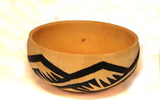 """Photo: Tim Aley 9"""" x 4"""" Bowl with burning and paint [box elder]"""