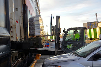 Photo: Midnatsol is a working ferry below decks - some cargo being loaded aboard