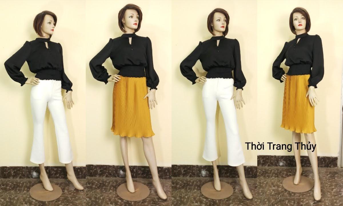 Áo nữ tay bồng nhún chun eo vải lụa đen V672 hải phòng