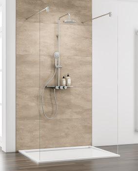 Paroi de douche fixe centrale à l'italienne, 100 ou 120 cm, Walk In Square I
