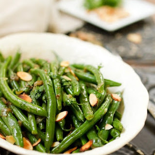 Green Beans with Caramelized Shallots and Almonds.