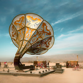 La Victrola at Burning Man 2016 by Dan Hayes - Artistic Objects Other Objects ( gramophone, sculpture, sky, lavictrola, outdoor, art, playa, landscape, burningman )