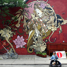 "Photo: Mucha's Musings - Part 'People"" shot, part ""Street"" shot. What do you get in a Bohemian part of Toronto known as ""Kensington Market*? Anything and everything all in one - a street performer playing traditional Chinese music, a road closure, a Mucha mural and a bike to get around :) I plucked this out of the archives (pun intended :). I was honored to have +Brian Rose post my People photo album on his G+stream."