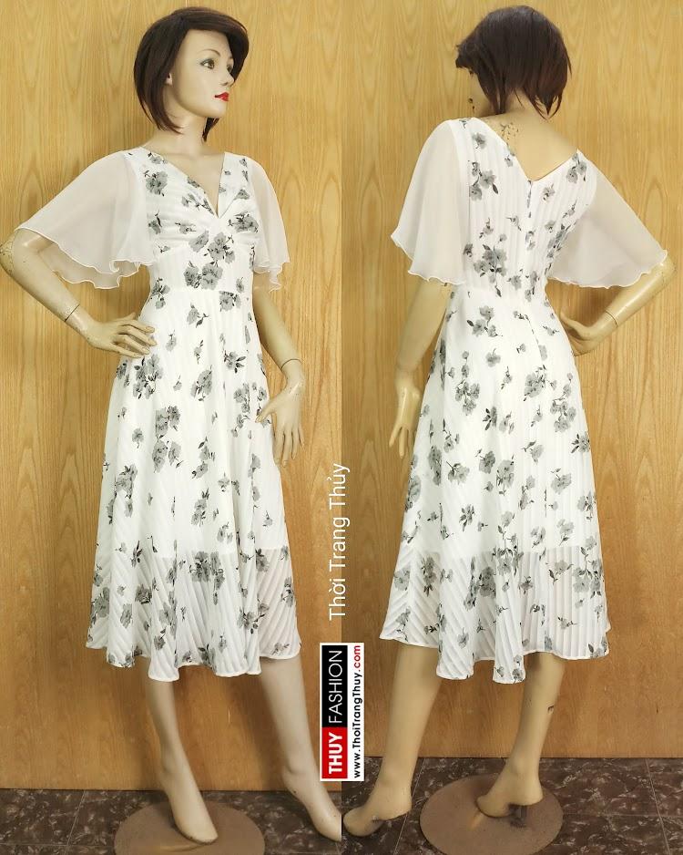 Váy Xòe dáng dài cổ V xếp nhún tay loe V675 tại sai gòn
