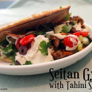 Seitan Gyro with Tahini Sauce.