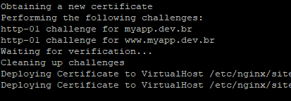 Certificado SSL sendo criado