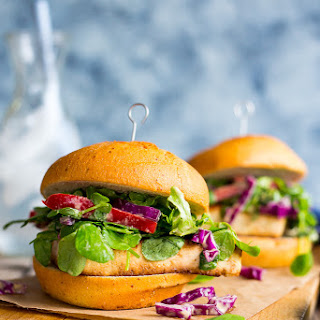 Crispy Tofu Sandwiches with Sweet Pea Greens Peanut Slaw