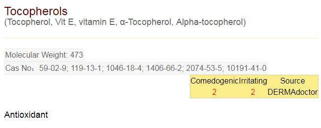 komposisi naturale tocopherols