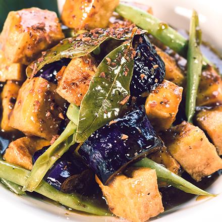 Tofu, Green Beans & Eggplant Adobo