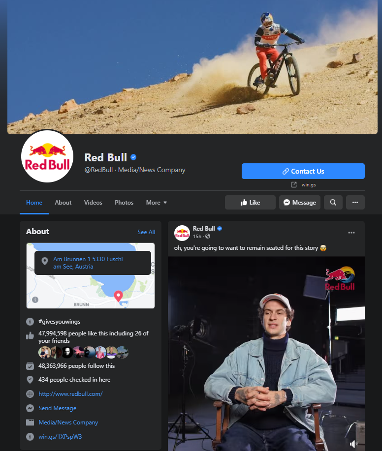 red bull facebook page example